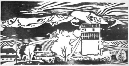 Willow Creek MT. Woodcut by Leslie Drawbaugh